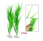 SODIAL(R) 2 Pcs 14.2″ Length Green Plastic Grass Plants for Fish Tank