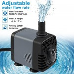 Ankway Upgraded 160GPH(600L/H, 10W) Submersible Water Pump with Vinyl Tubing(39inch/1M) Humanized Rotation Switch with 2 Nozzles for Pond, Aquarium...
