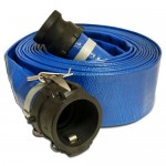 "Apache 98138044 2"" x 25' Blue PVC Lay-Flat Discharge Hose with Poly Cam Lock Fittings"