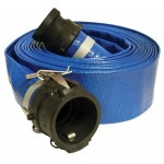 "Apache 98138066 3"" x 50' Blue Standard-Duty PVC Lay-Flat Discharge Hose with Poly Cam Lock Fittings"