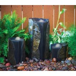 Aquascape Double Textured Basalt Cored Water Fountain Columns, Set of 3 for Landscape & Garden