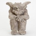 Bits and Pieces - Sitting Garden Gargoyle Statue - Cast Weather Resistant Resin Sculpture