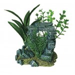Exotic Environments Rock Arch with Plants Aquarium Ornament, Small