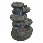 Design Toscano Anchor Falls Rock Garden Decor Tabletop Desk Fountain Water Feature, 28 cm, Polyresin with LED Lights, Full Color
