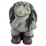 Design Toscano Pondering Sylvester the Cynical Gnome Troll Statue, Two Tone Stone