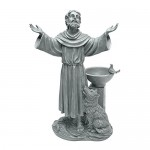 Design Toscano St. Francis' Blessing Religious Garden Decor Statue with Bird Bath Bird Feeder, 48 cm, Polyresin, Greystone