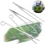 edealing(TM) 1SET 3 in 1 Stainless Steel Aquarium Tank Aquatic Plant Tweezers Scissors Tools