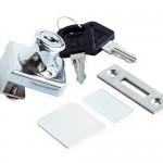 Glass Display Cabinet Showcase Lock for ¼ Glass Door No Drill with 2 Keys, Chrome Pleated