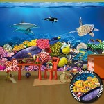 Wall Mural Aquarium Decoration Colorful Underwater World Sea Dweller Ocean Fishes Dolphin Coral Reef Clownfish I paperhanging Wallpaper poster wall...