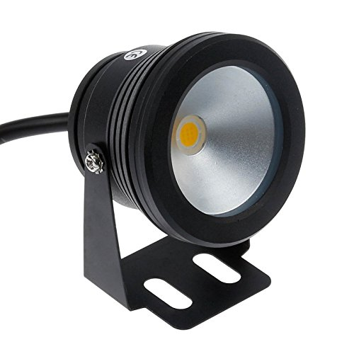 Lemonbest® 10w 12v Black LED Underwater Flood Light for Landscape Fountain Pond Pool, Warm White