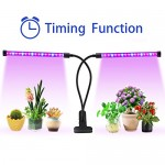 Lovebay Timing Function Dual Head Grow Light 36 LED 4 Dimmable Levels Grow Lamp Bulbs with Adjustable 360 Degree Gooseneck for Indoor Plants Hydrop...