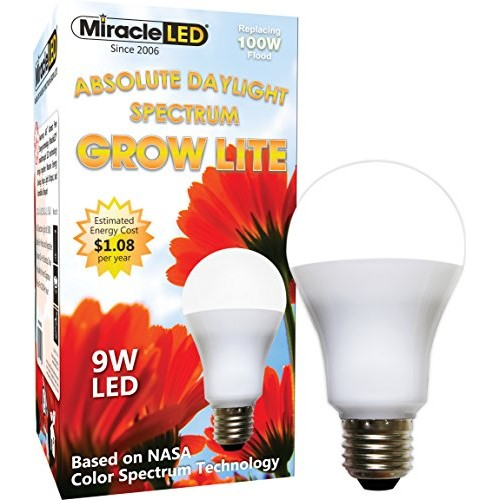 Miracle LED Absolute Daylight Spectrum Grow Lite - Replaces up to 100W - Full Spectrum Hydroponic LED Plant Growing Light Bulb for Greenhouse, Gard...