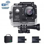 2.0-Inch WIFI HD 1080P Waterproof Action Camera Black 12MP Diving 30M Underwater Camera With 2PCS Battery, Helmet Cam Bicycle Sports Camera for Bik...