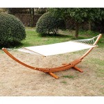 Outsunny 2-Person Swing Hammock with Stand Patio Garden Bed FSC Certified Larch Wood