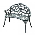 "Outsunny 40"" Patio Outdoor Flowering Patten Garden Park Bench Chair Cast Aluminum Outdoor Furniture Antique Green"
