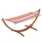 Outsunny Swing Hammock with Hardwood Stand Frame Garden Bed
