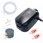Pawfly Adjustable Aquarium Air Pump 4-LPM 2 Outlets with Oxygen Accessories for 20-100 Gallon Fish Tank Pond