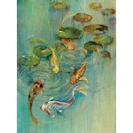 Portfolio Canvas Décor Framed and Stretched Ready to Hang Printed Canvas Wall Art Painting, 30 X 40 Inch, Koi at Play