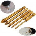 Preamer 5pcs Titanium Coated Glass Drill Bits Set 3/4/6/8/10mm with Hex Shank for Ceramic Tile Marble Mirror Glass
