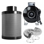 "PrimeGarden Hydroponic 4"" Inline Fan Air Activated Carbon Filter w/ Pre Filter Ducting Clips Combo for Ventilation Grow Tent Exhaust Kit and Hydrop..."