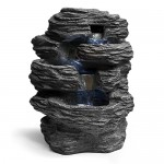 SereneLife 4-Tier Water Fountain Decoration - Cool Indoor Outdoor Portable Electric Tabletop Decorative Zen Meditation Waterfall Decor Kit w/ LED, ...