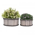 Wooden Planter Pot,SHZONS 2pcs Country Rustic Gray Wood Succulent Pots Planters Flower Buckets with Breathable Non-Woven Fabric,Wood Barrel Planter