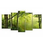 Green 5 Panel Wall Art Painting Enchanted Green Forest With Fog Pictures Prints On Canvas Landscape The Picture Decor Oil For Home Modern Decoratio...